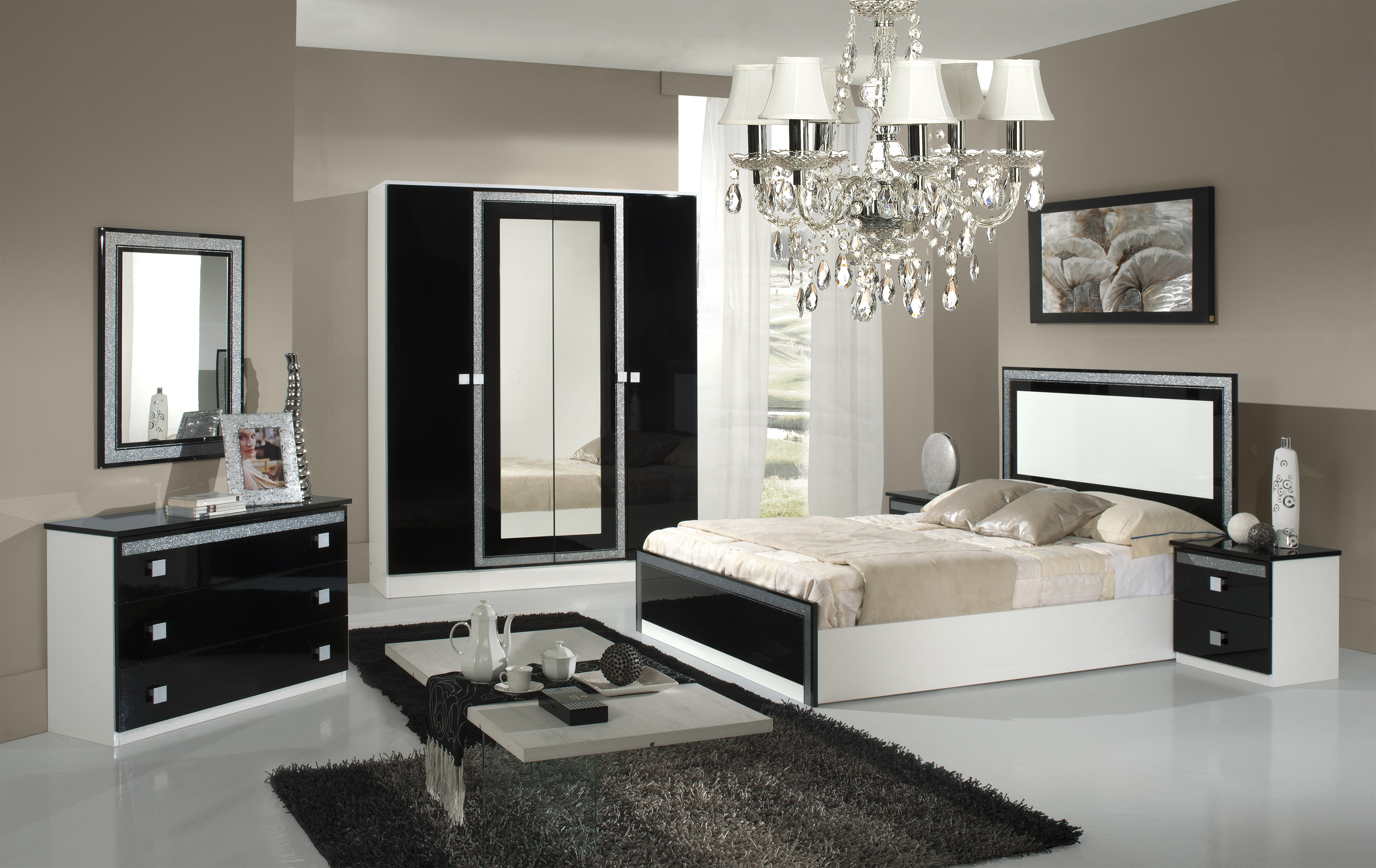 chambre iden noire laqu e nkl meuble wassa et deco. Black Bedroom Furniture Sets. Home Design Ideas